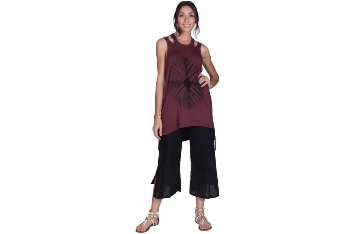 Cotton Long Roll Top Pants with Side Pockets