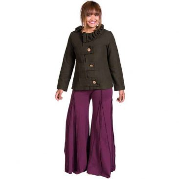Cotton Lycra Bell Button Panel Pants
