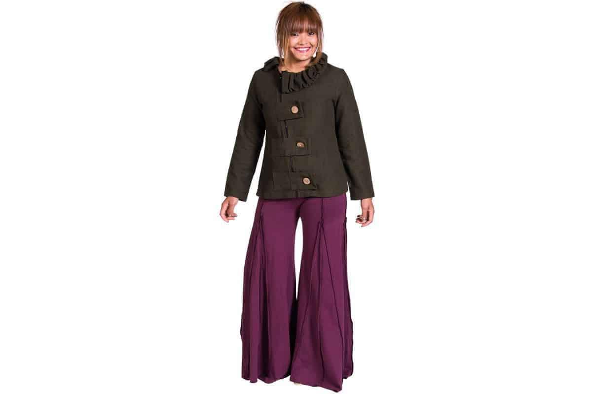 Cotton Lycra Bell Button Panel Pants