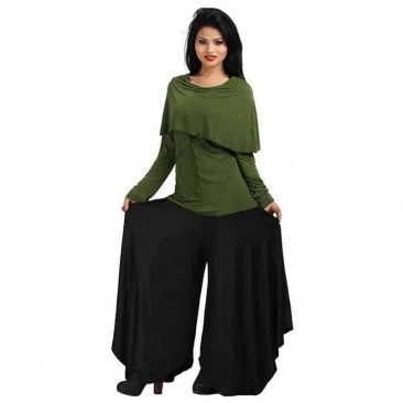 Stretchy Viscose Long Sleeve Top with Overlock