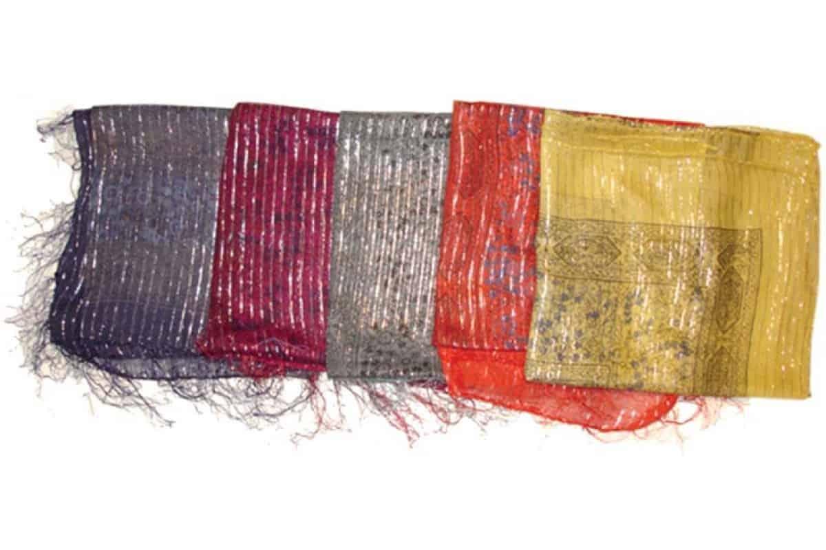 Thin Cotton Scarf with Lurex Thread