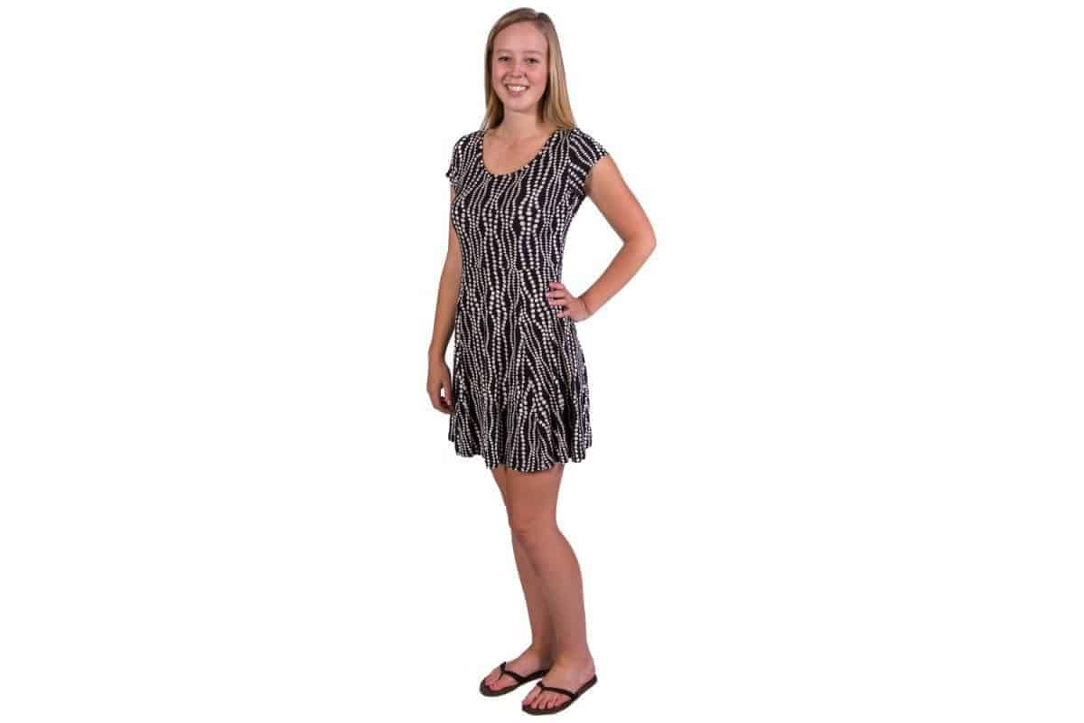 bead print schralp master dress